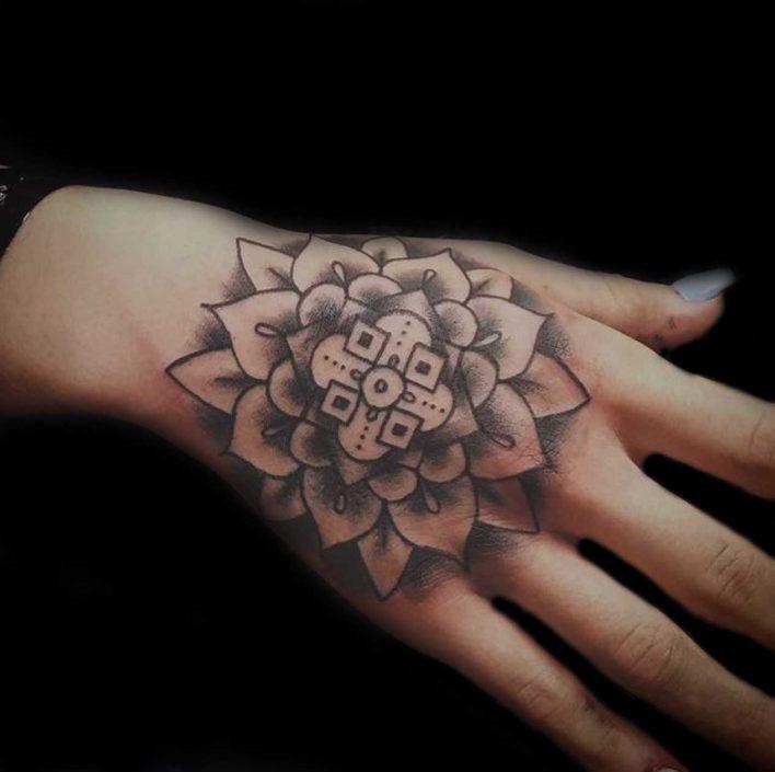 Dallas Davis Hand Mandala - Tattoo Charlotte NC