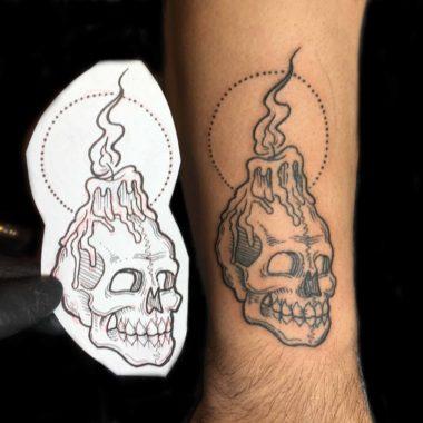 Charlotte Tattoo Artist - Alexandra Santaloci - Skull Candle Tattoo